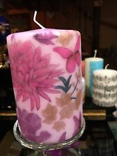 AUTUMN FLOWERS(purple Butterflies)HAND DECORATED On Purple Coated PILLAR CANDLE