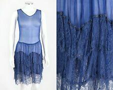 VTG 1920s COBALT BLUE SILK GEORGETTE & LACE FLAPPER DRESS SZ XS