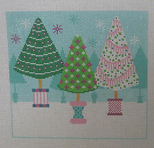 Handpainted Needlepoint Canvas Shelly Tribbey Winter Snow Trees Christmas C419B
