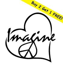 IMAGINE PEACE LOVE HEART Vinyl Decal Car Window Wall Bumper Macbook Symbol Logo