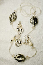 jewelry set necklace earrings bracelet Black marble silver tone set