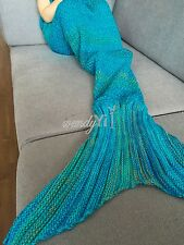 New Fish design Fancy Knit Mermaid Tail Sofa Blanket Crocheted Sleeping Bag Rug