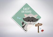 Baby on board -Racoon Car Sticker/Kids, Twins, Misters, Little Miss, Boy & more