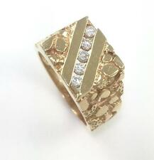 Men's Solid 14k Yellow Gold .50 Carat Diamond Nugget Wide Pinky Ring