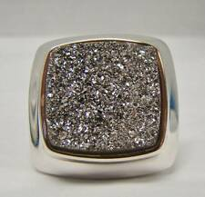 "925 STERLING SILVER MILOR RING BOLD DRUZY QUARTZ  1"" X 1"" SQUARE 18.2g SIZE 6.5"