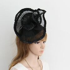 New Church Derby Wedding Pleated Poly Fascinator Dress Hat w Headband 349 Black