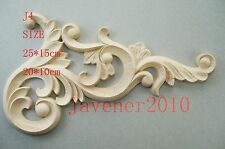 20*10cm Wood Carved Corner Onlay Applique Frame Decoration Unpainted J4 QTY.1