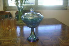Vintage Iridescent Blue Carnival Glass Wedding Bowl Candy Dish Compote with Lid