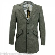 Holland Esquire HAND CUSTOMISED Shale TWEED PUPPYTOOTH Car Coat Jacket Uk40 BNWT