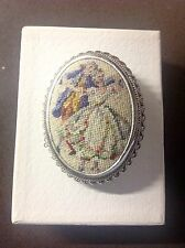 Petit Point Brooch - Royal Couple Dancing