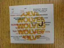 18/09/1976 BIGLIETTO: Wolverhampton Wanderers V Oldham Athletic (completato). ciò si