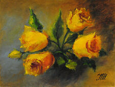 "Yellow roses. Original framed oil on canvas 9""x12"" painting from artist"
