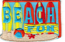 """""""BEACH FUN"""" - IRON ON EMBROIDERED PATCH - BEACH - OCEAN - SWIMMING -SURFING"""