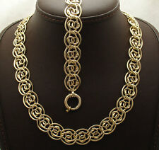 Technibond Shiny Multi Circle Bracelet Necklace Set 14K Yellow Gold Clad Silver