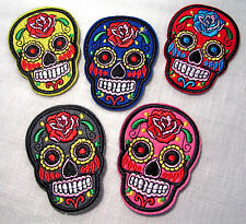 LOT de 5 ÉCUSSONS PATCH BRODÉ thermocollant - TÊTE de MORT SKULL *5,5 x 7 cm*