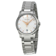 Gucci G-Timeless Silver Dial Stainless Steel Ladies Watch YA126523