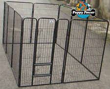 10 Panel Extra Large 1.2m High Dog Run, Pet Enclosure, Exercise Play Pen, Cage