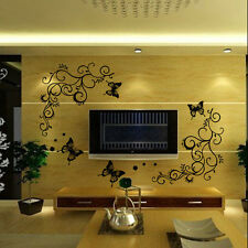 DIY Vinyl Art Removable Decal Mural Home Decor Wall Stickers Butterfly Flower