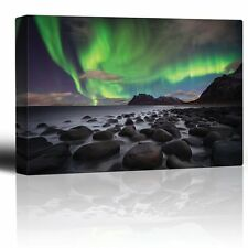 Green Northern Lights Over an Ocean Filled with Rocks - Canvas Art- 32x48 inches
