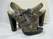 Coach 9.5 M Moreen Pewter Leather Open Toe Heels New Womens Shoes NWB