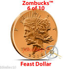 2014 COPPER ZOMBIE BULLION FEAST DOLLAR Z2 ZOMBUCKS ROUND 1 OZ .999 FINE PEACE