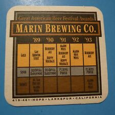 Beer Coaster ~ MARIN Brewing Co ~ Great American Beer Fest Awards From 1989-1993