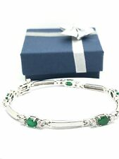 14k White Gold Natural  Emerald And Diamond Bracelet May Birthstone Anniversary
