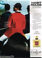 Publicité Advertising 1991 Parfum Homme Habit Rouge par Guerlain