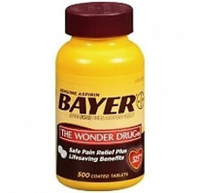 Genuine Bayer Aspirin 325 mg 500 Tablets pain reliever & fever reducer.