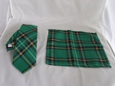 """TARTAN Green/Black Polyester Mens Slim Tie and Hankie Set -Tie-3"""" = 7.5cm Width"""