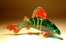 "Blown Glass Figurine  ""Murano"" Art Green and Red CARP Fish"