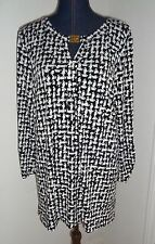 ANNE KLEIN Black White Print Ruched Sleeves Tunic Top Size XL