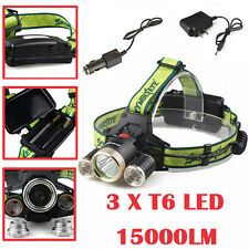 30000LM Headlamp CREE T6 LED Headlight 18650 Bright Flashlight+AC Charger GD