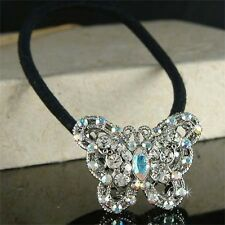 w Swarovski Crystal Beautiful BUTTERFLY Pony Tail Hair Head Band Holder NEW Xmas