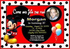 MICKEY MOUSE CUSTOM PRINTABLE PHOTO BIRTHDAY PARTY INVITATION AND THANK YOU CARD