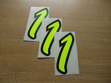 set of 3 - Black & Fluorescent Yellow number 1 decals - 95mm high stickers