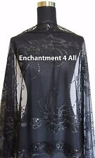 Handmade Lace Sheer Oblong Scarf Shawl Wrap w Sequin Floral Art Pattern, Black 5