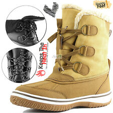 Women's Lace-Up Ankle High Comfort Flat Fur Military Combat Hiking Snow Boots