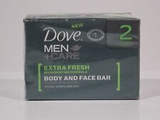 2 DOVE MEN CARE extra fresh INVIGOTING FORMULA BODY & FACE BAR SKIN COMFORT NEW
