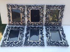 STUNNING SET OF 6 SILVER & BLACK WOODEN  PICTURE MIRROR PHOTO FRAMES
