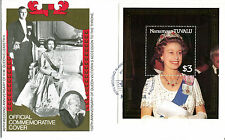 TUVALU NANUMAGA 1987 QUEEN 40th WEDDING ANNIVERSARY $3 M/SHEET FIRST DAY COVER