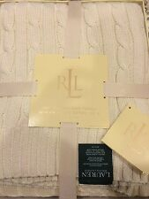"NEW RALPH LAUREN CREAM COTTON KNIT THROW BLANKET 50"" X 70"" GIFT BOX"