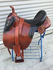 "19"" New Leather Australian Stock Trail Saddle Package By OutBack Saddle Co."