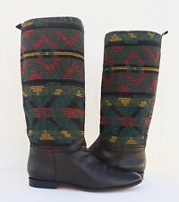 VTG Kilim Textile Riding Tall Boots Black Leather Aztec South Western Women 10 M