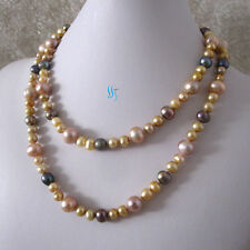 "38"" 7-11mm Multi Color Freshwater Pearl Necklace Champagne Lavender Gray"