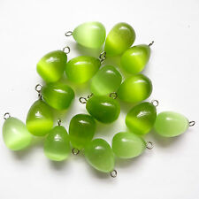 4 Cat's Eye glass Tear drop beads 16x12mm - Peridot  - CT50