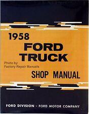 1958 Ford Truck F-100 F-250 F-350 P-100 P-350 Shop Service Repair Manual Reprint