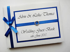 PERSONALISED WEDDING GUEST BOOK WITH DIAMONTE BUCKLE (GOLD) - ANY COLOUR