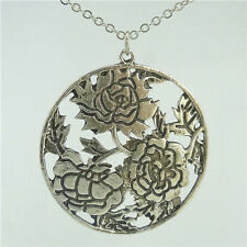 "Antique Silver Plated Alloy Plants Large Rose Flower Pendant Charm 24"" Necklace"