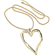 Lagenlook shiny gold large heart abstract pendant 75 cm long chain necklace